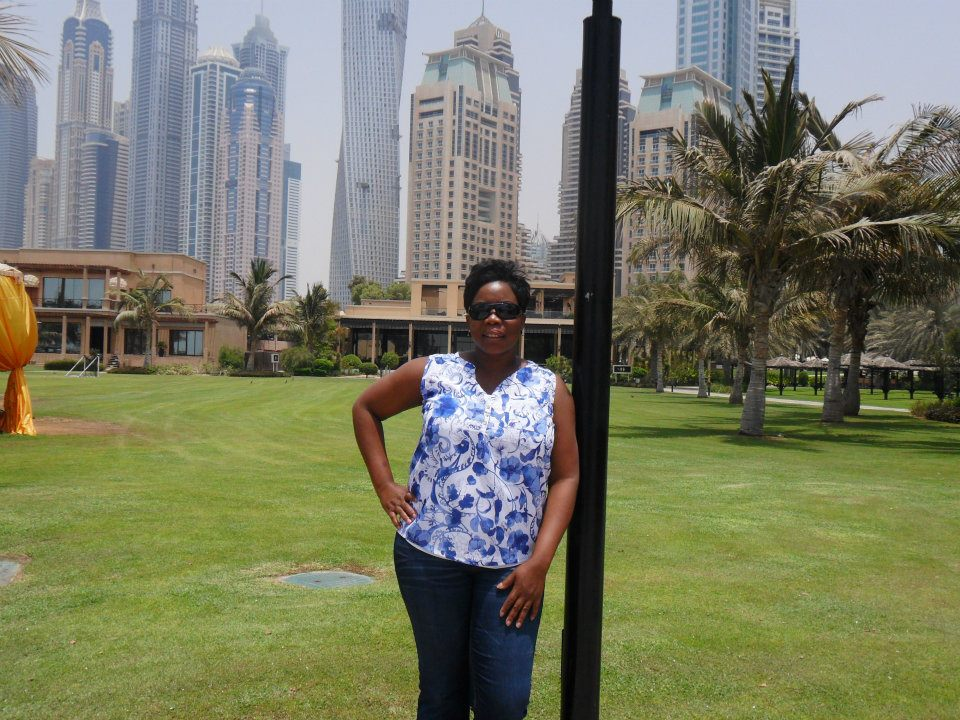 Infront of skyscrappers in Dubai