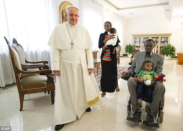 Pope Francis, Meriam Ibrahim and family