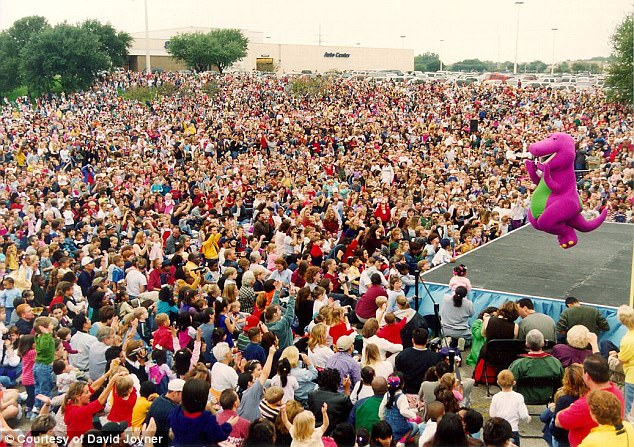 David Joyner in the Barney suit during a live show at Colin Creek Mall, Plano, TX