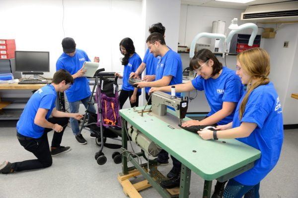 John Hopkins students customizing the stroller